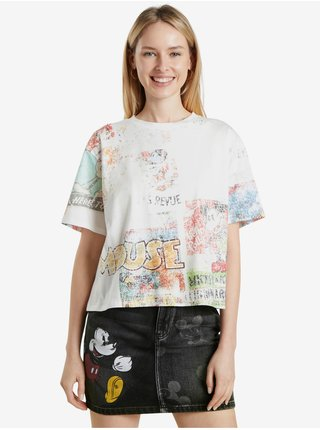 Bílé dámské vzorované tričko Desigual Vintage Mickey