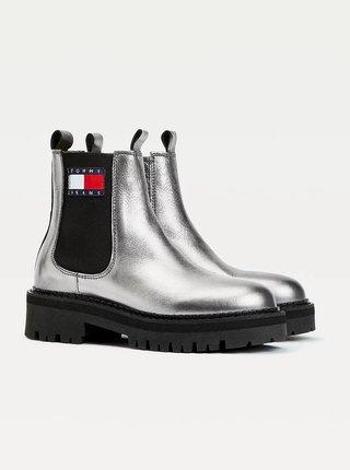 Stříbrné dámské kožené chelsea boty Tommy Hilfiger