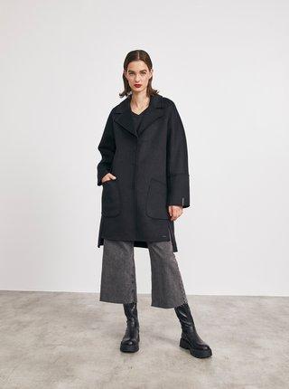 Černý dámský kabát s příměsí vlny METROOPOLIS Kandis