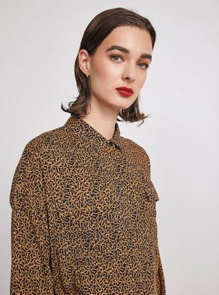 Černo-hnědá dámská vzorovaná volná košile METROOPOLIS Ingrid