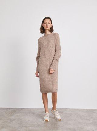 Béžové žíhané svetrové šaty METROOPOLIS Vica