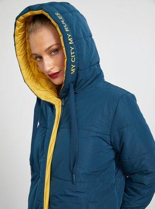 Žluto-modrý dámský oboustranný zimní kabát METROOPOLIS Isabella
