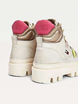 Krémové dámské kotníkové boty na platformě Tommy Hilfiger