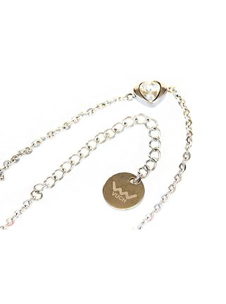 Dámský náramek se s motivem srdce a krystalem ve stříbrné barvě VUCH My heart silver
