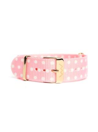 Růžový dámský puntíkovaný nylonový pásek k hodinkám VUCH Rose Gold Rose