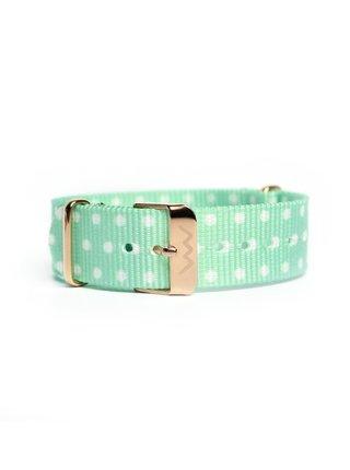 Světle zelený dámský puntíkovaný nylonový pásek k hodinkám VUCH Rose Gold Tyrkys
