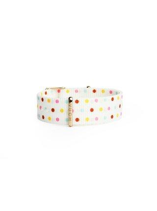 Bílý dámský puntíkovaný nylonový pásek k hodinkám VUCH Rose Gold Dots