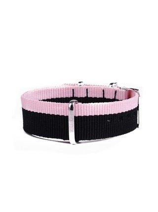 Růžovo-černý dámský nylonový pásek k hodinkám VUCH Silver Pink