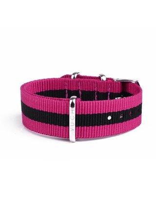 Černo-růžový dámský nylonový pásek k hodinkám VUCH Silver Purple