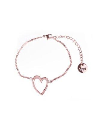 Dámský náramek s motivem srdce v růžovo-zlaté barvě VUCH Little Wish Gold