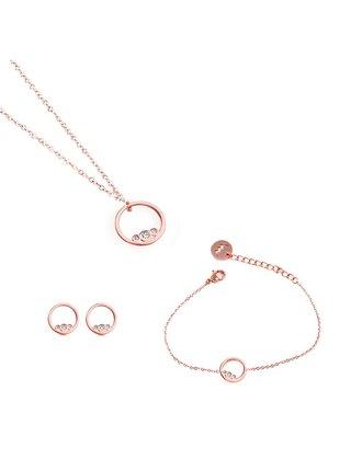 Sada dámských náušnic, náramku a náhrdelníku v růžovo-zlaté barvě VUCH Pices of Ringy Rose Gold