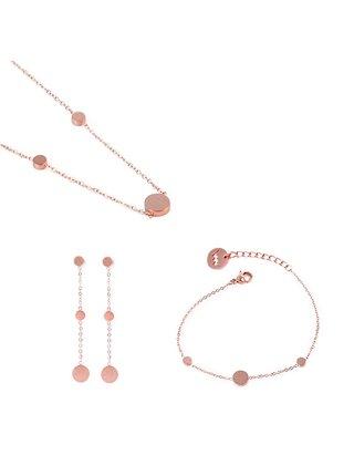 Sada dámských náušnic, náramku a náhrdelníku v růžovo-zlaté barvě VUCH Pices of Dotty Rose Gold