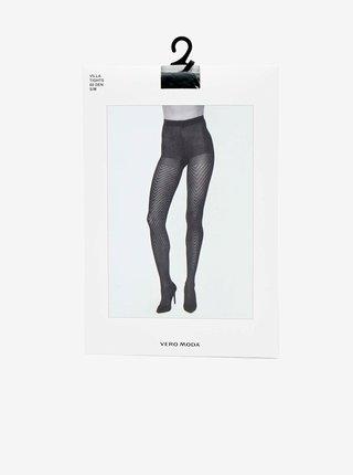 Černé vzorované punčochové kalhoty VERO MODA Villa