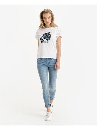 Tričká s krátkym rukávom pre ženy KARL LAGERFELD - biela