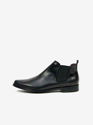Černé dámské kotníkové kožené boty OJJU