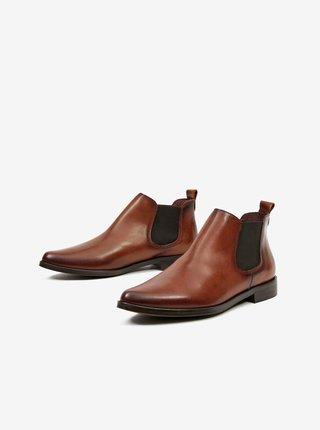 Hnedé dámske členkové kožené topánky OJJU