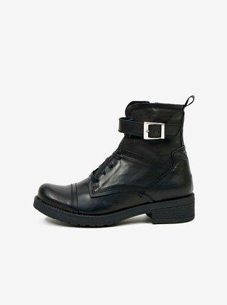 Čierne dámske kožené členkové topánky OJJU