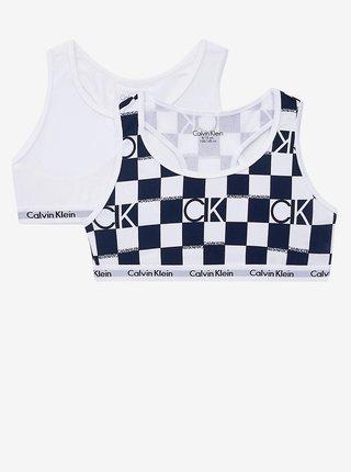 Sada dvou podprsenek v bílé a modré barvě Calvin Klein