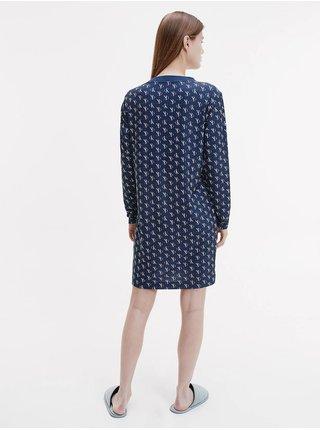 Tmavě modrá dámská vzorovaná noční košile Calvin Klein