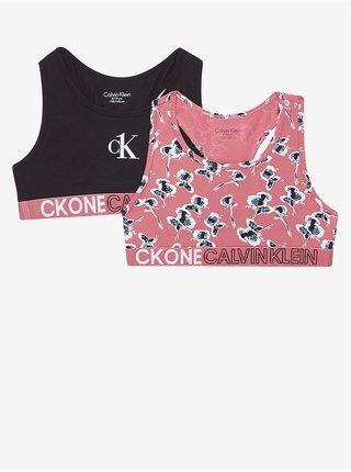 Sada dvou holčičích podprsenek v černé a růžové barvě Calvin Klein