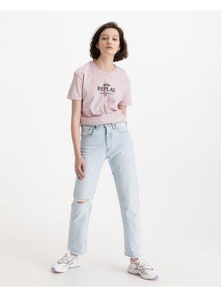 Tričká s krátkym rukávom pre ženy Replay - ružová