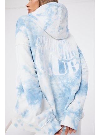 Modrá dámská batikovaná mikina  HOODIE LOGO WAVE OVERSIZED