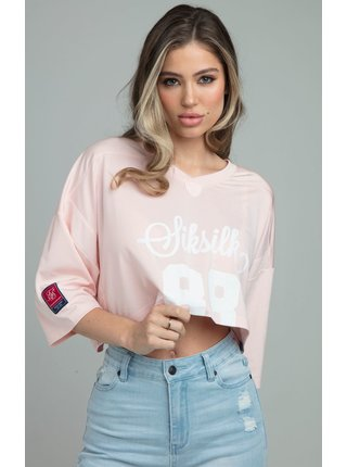 Světle růžové dámské crop top tričko JERSEY CROP FOOTBALL RETRO