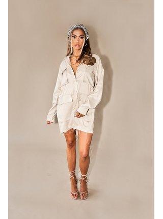 Béžové dámské košilové šaty  SHIRT CHECK POCKET UTILITY