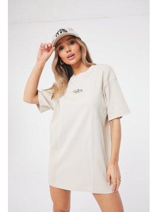 Béžové dámské šaty  DRESS TEE OVERSIZED PANEL RIB