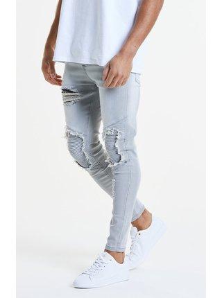 Světle šedé pánské slim fit džíny  DENIMS BIKER HEM RAW