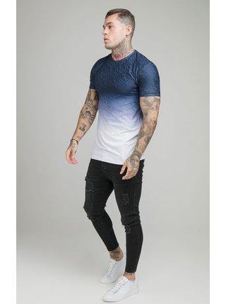 Tmavě modro-bílé pánské tričko  TEE GYM PRINT FADE JACQUARD
