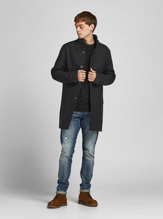 Čierny kabát s prímesou vlny Jack & Jones Connor