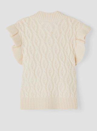 Krémová holčičí vesta s ozdobnými rukávy name it Ramat