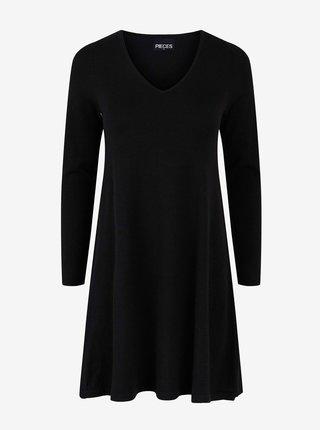 Černé svetrové šaty Pieces Cenia
