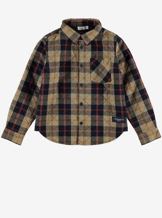 Černo-hnědá klučičí kostkovaná košile name it Ols