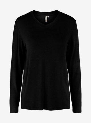 Černé tričko s dlouhým rukávem Pieces Neora