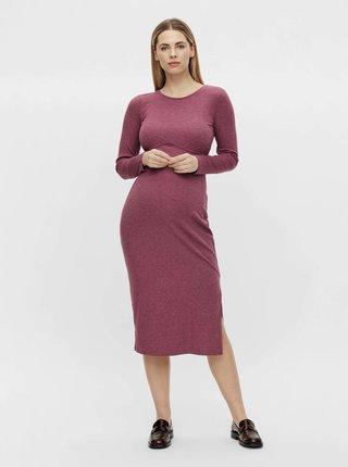 Ružové tehotenské rebrované šaty Mama.licious Ginnie