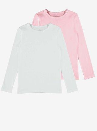 Sada dvou holčičích triček v růžové a bílé barvě name it Top