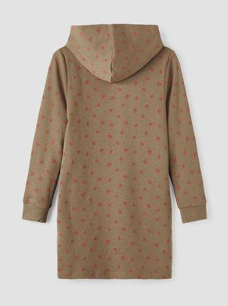 Khaki holčičí puntíkované mikinové šaty name it Nulser