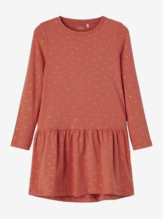 Cihlové holčičí vzorované šaty name it Vivian