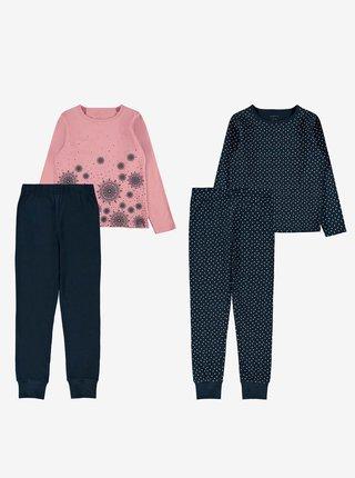 Sada dvou holčičích vzorovaných pyžam v růžové a tmavě modré barvě name it Night set