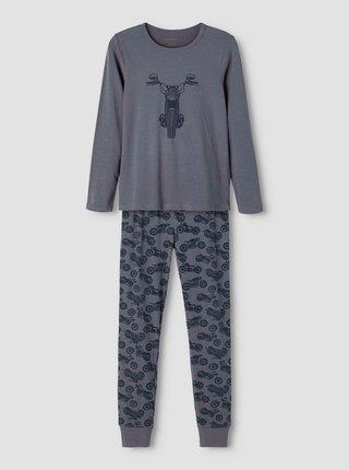 Tmavě šedé klučičí pyžamo s motivem name it Night set