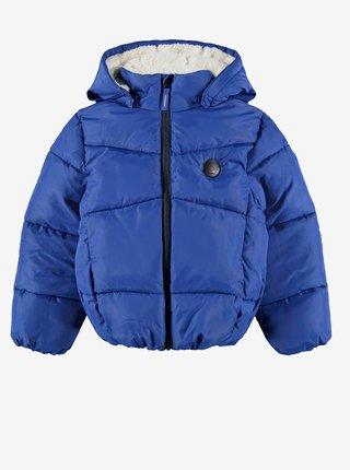Tmavomodrá chlapčenská prešívaná bunda s kapucou name it Make