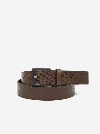 Hnědý pánský kožený pásek Replay