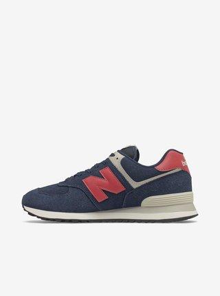 Červeno-modré pánské semišové boty New Balance 574