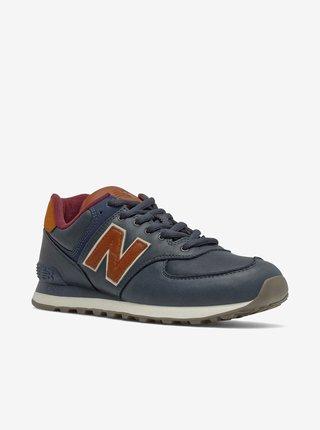 Hnědo-modré pánské kožené boty New Balance 574