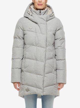 Světle šedá dámská dlouhá prošívaná zimní bunda s kapucí Ragwear Pavla