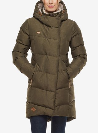 Kaki dámska dlhá prešívaná zimná bunda s kapucou Ragwear Pavla