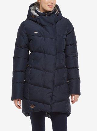 Tmavě modrá dámská dlouhá prošívaná zimní bunda s kapucí Ragwear Pavla