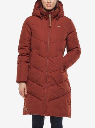 Červená dámská dlouhá prošívaná zimní bunda s kapucí Ragwear Rebelka